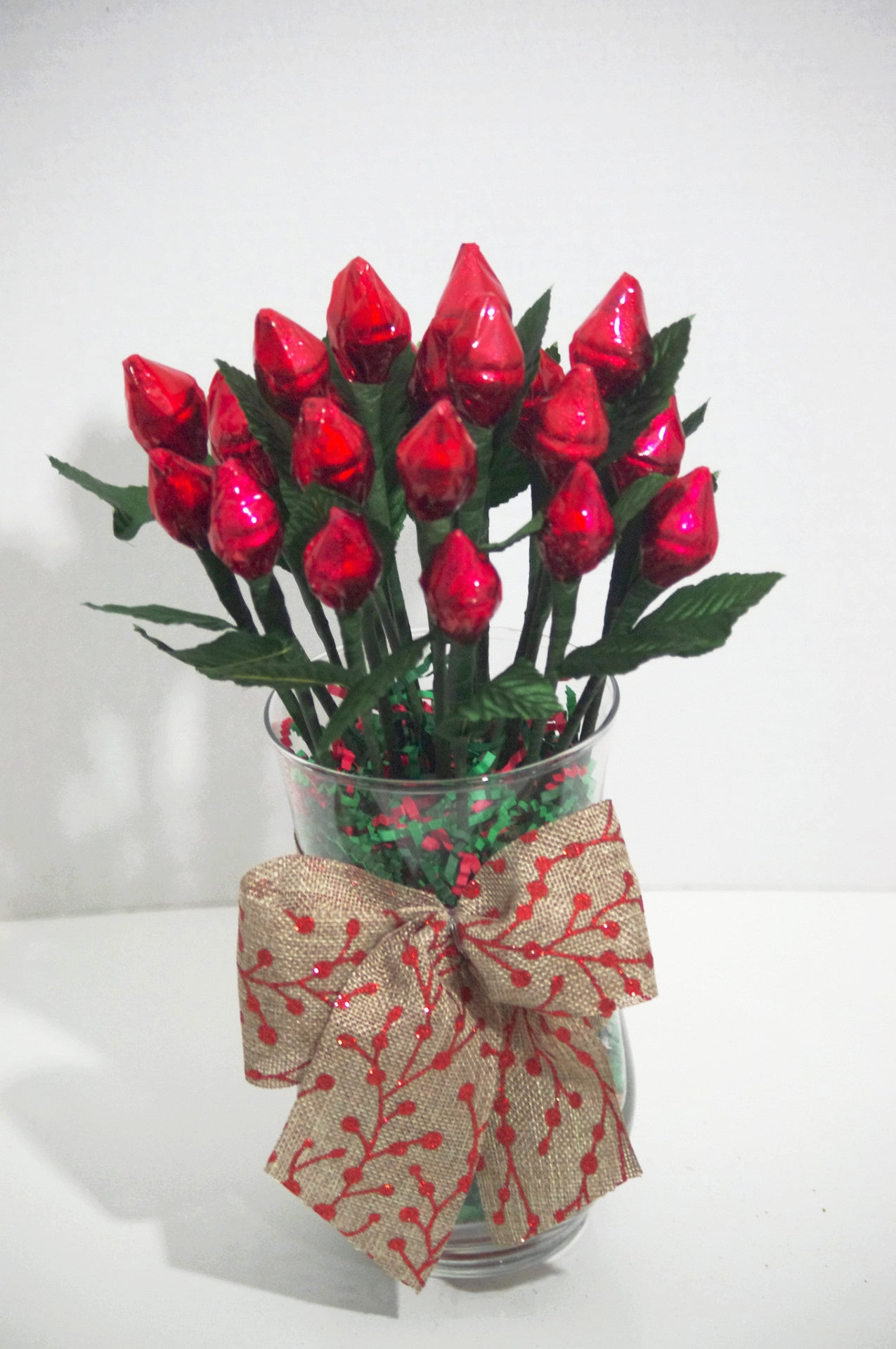 red hershey rose kisses two dozen sweet cheers