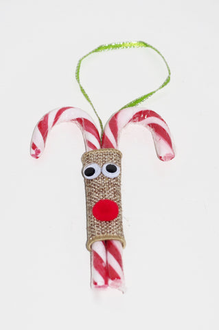 Candy Cane Rudolph Ornaments - Quantity 7