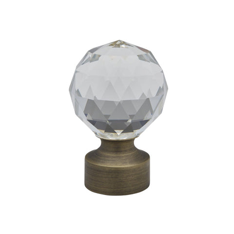 "1-3/16"" Stella Crystal Finial Brushed Brass (Brass)"