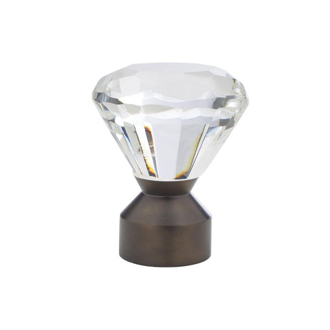 "1-3/16"" Solitaire Crystal Finial Bronze (Brass)"