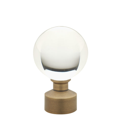 "1-3/16"" Acrylic Ball Finial Brushed Brass (Brass)"