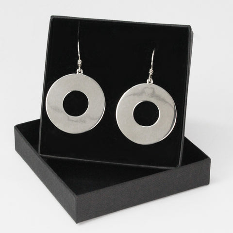 Sterling Silver Drop Round O Earings