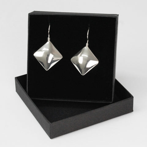 Sterling Silver Drop Square Earings