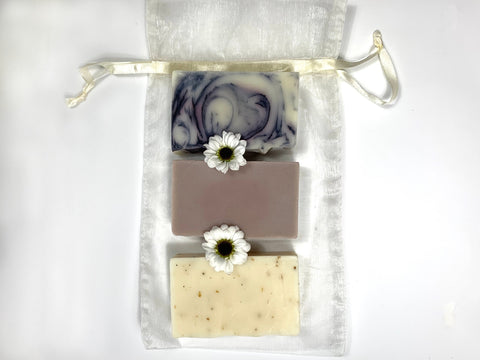 Ivory Organza Gift Bag (3 Bars) - Sudsy & Co.