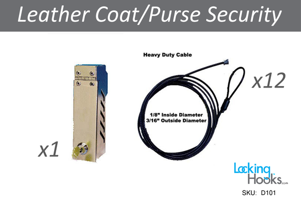 Cable Coat Kit for Coats and Purses (1 Lock Box, 12 Cables, and 2 Keys) - LockingHooks.com - 1