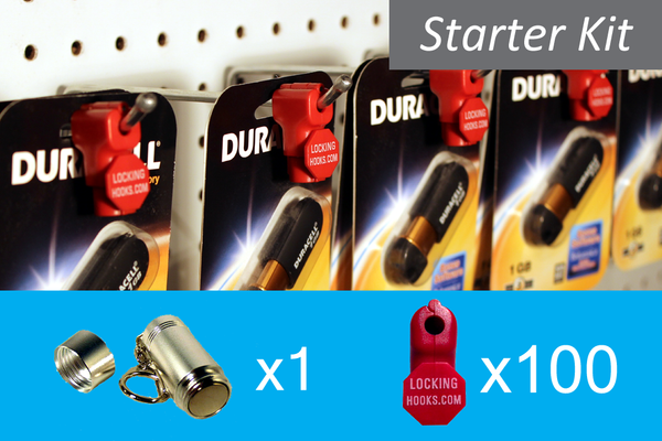 StopLock Starter Kit! - 100 Red 6mm StopLocks with 1 Key - LockingHooks.com - 1
