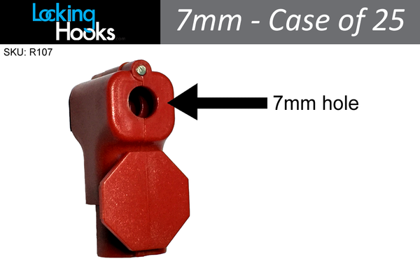 (Case of 25) 7mm Red StopLock - Security for Gridwall hooks, Peg Hooks, Slatwall - LockingHooks.com - 1