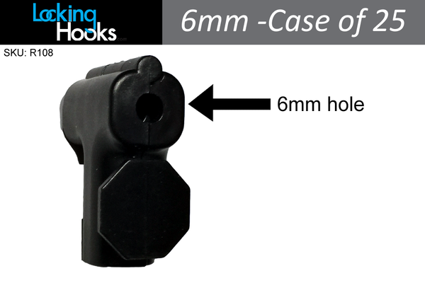 (Case of 25) 6mm Black StopLock  - Security Devices for Your Existing Peg Hooks - LockingHooks.com - 1
