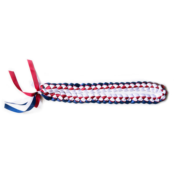 Ribbon Lei - Braided Necklace - Blue & Red & White
