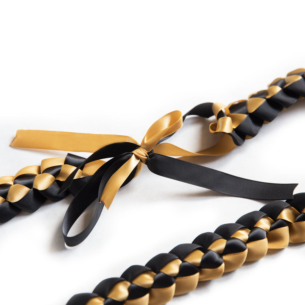 ribbon lei braided necklace black gold a tangible thought
