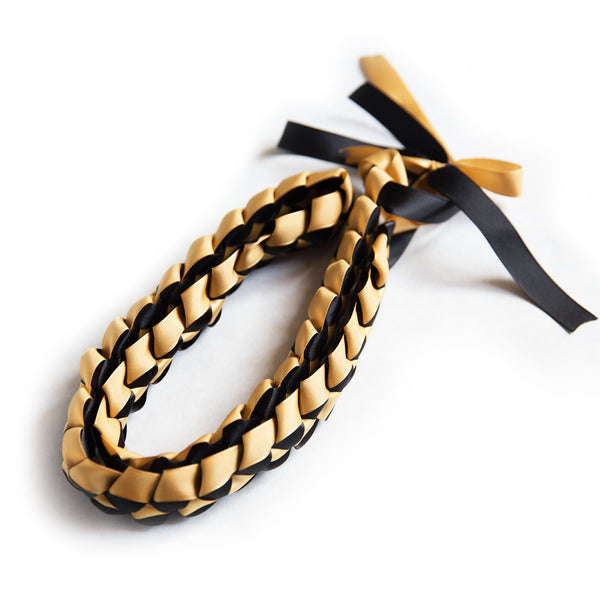 Ribbon Lei - Braided Necklace - Black / Gold