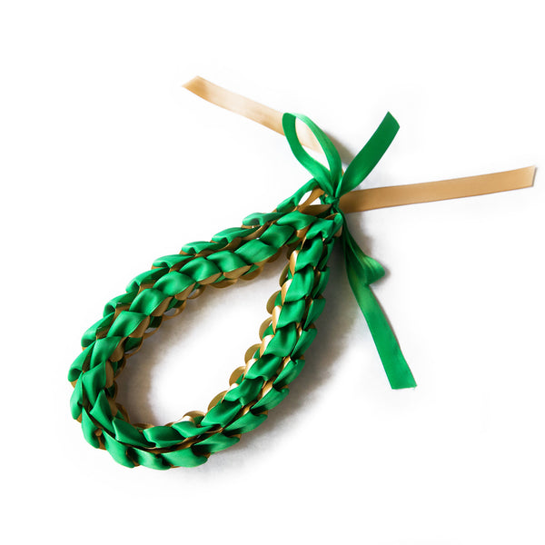 Ribbon Lei - Braided Necklace - Green & Gold