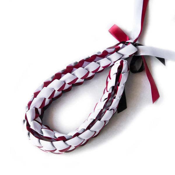 Ribbon Lei - Braided Necklace - Black & Red & White