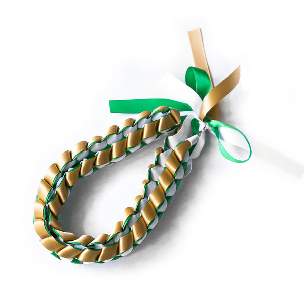 Ribbon Lei - Braided Necklace - Green & Gold & White