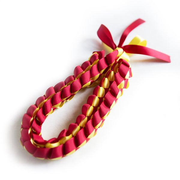Ribbon Lei - Braided Necklace - Red/Yellow