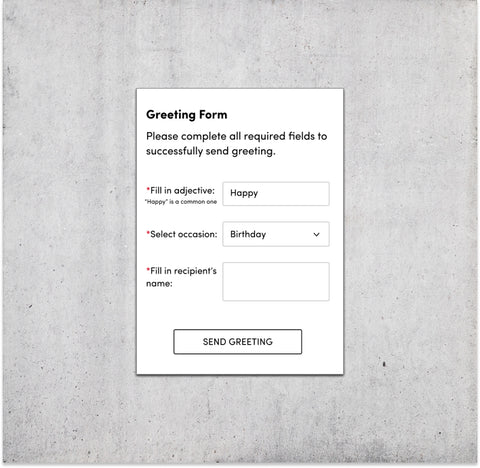 Custom Digital Form Greeting Card