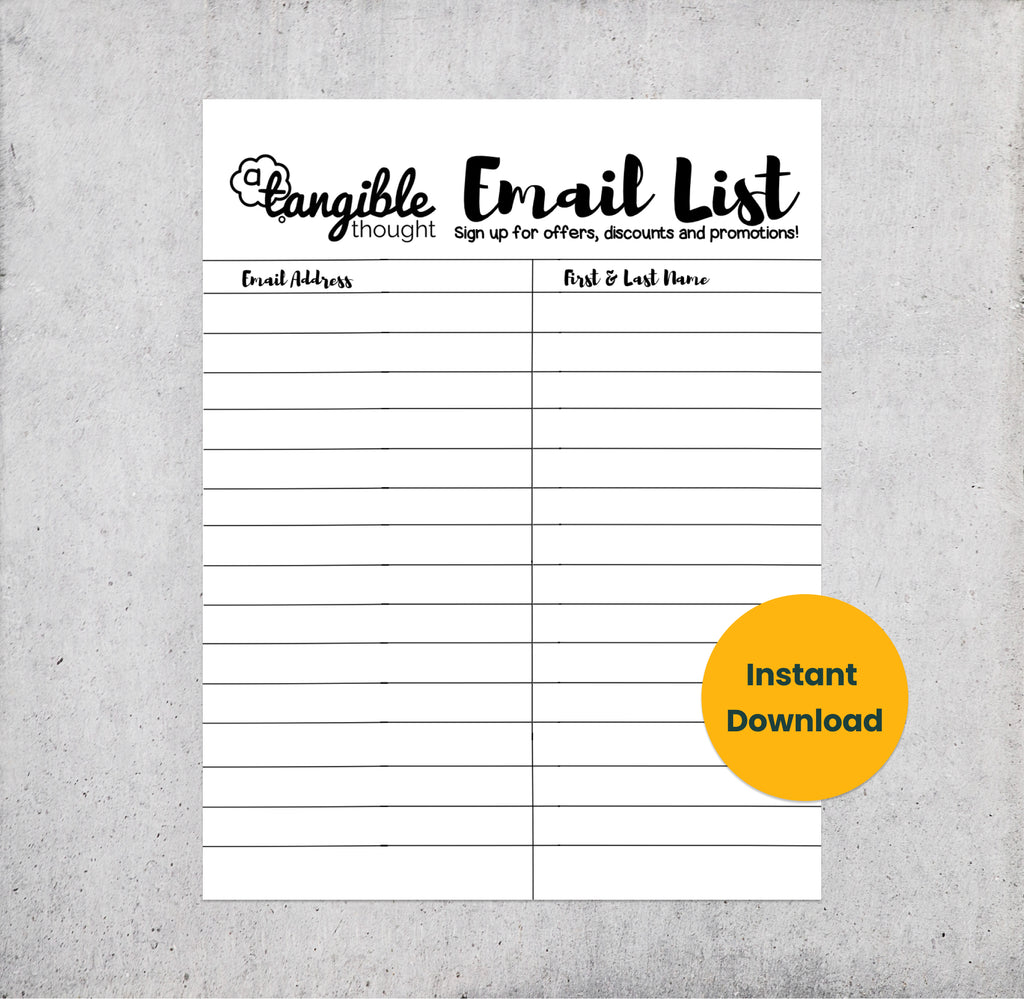 Cursive Email List Sign Up Form [PDF, Digital Download]