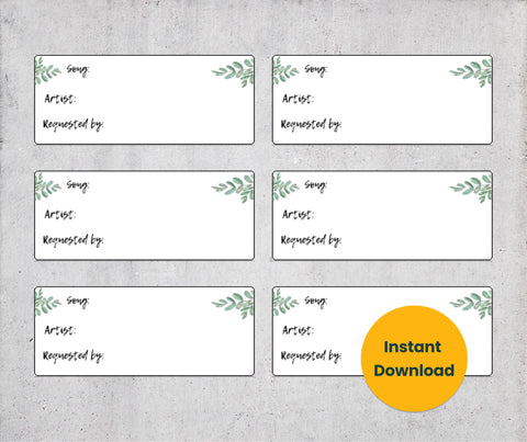 Eucalyptus Leaves Karaoke Song Request Cards - Sheet of 12 [PDF, Digital Download]