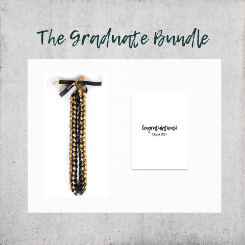 The Graduate Bundle - Ribbon Lei, Congratulations Card, Gift Wrap