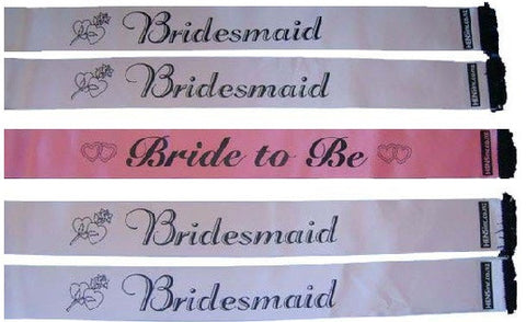 Combo: Bride to Be & 4 x Bridesmaid Sashes
