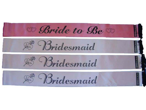 Combo: Bride to Be & 3 x Bridesmaid Sashes