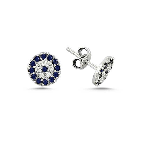 SOPHIA PETITE EVIL EYE EAR STUD EARRINGS STERLING SILVER - Byou Designs