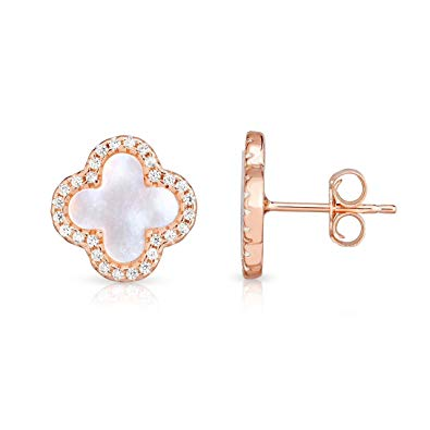 CELINE CLOVER CROSS EARRINGS EARSTUDS ROSE GOLD