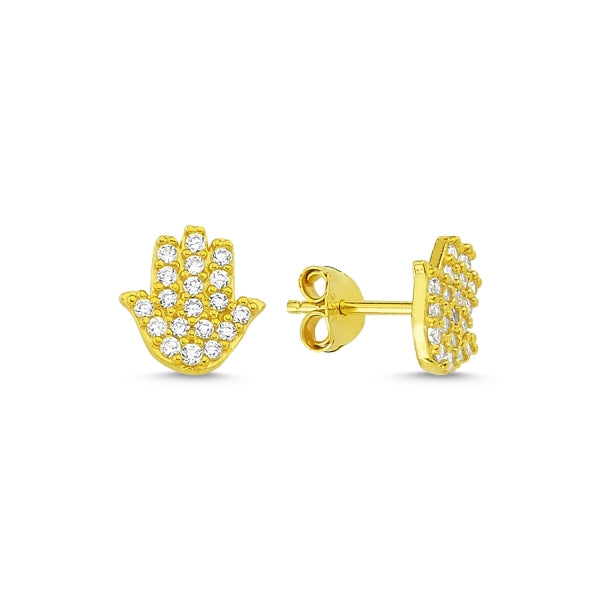 LAYLA HAMSA HAND EAR STUD EARRINGS 14K GOLD PLATED - Byou Designs