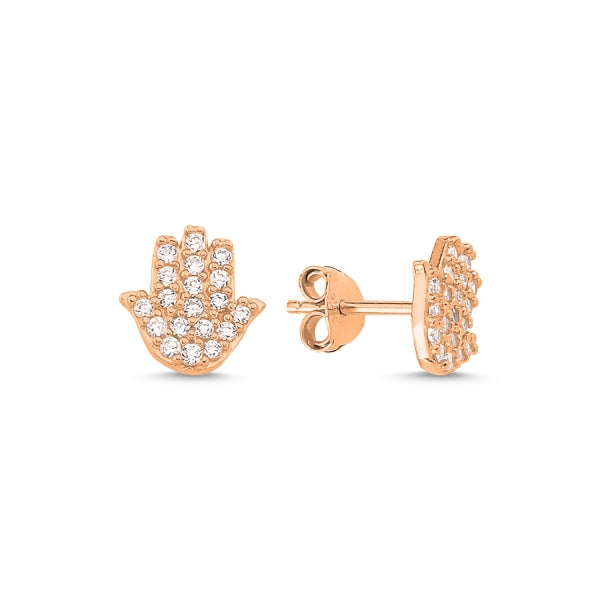 LAYLA HAMSA HAND EAR STUD EARRINGS ROSE GOLD PLATED - Byou Designs