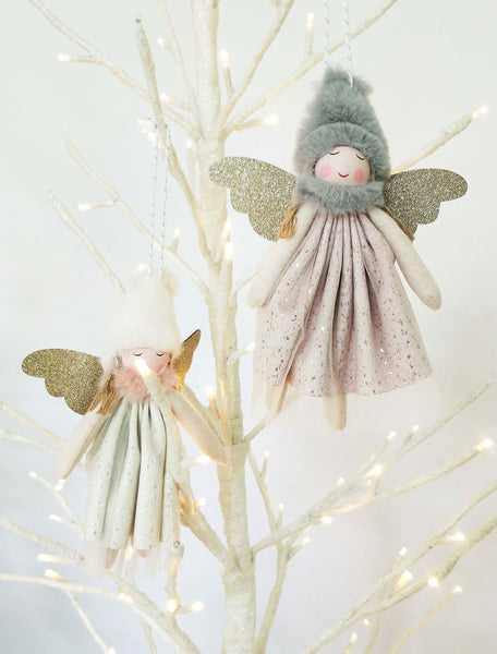Litttle Girls Angel Sparkle Hanging Decoration Pink White and Gold