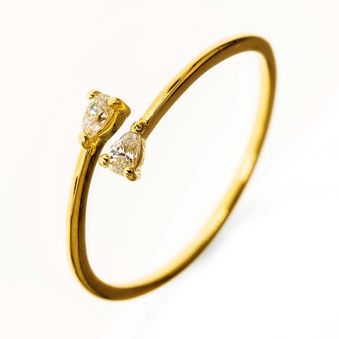 Gold Filled 14k Clear Stone Stacking Open Ring
