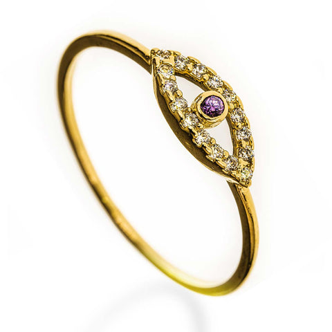 Evil Eye 14k Gold Filled Ring Amethyst Stone