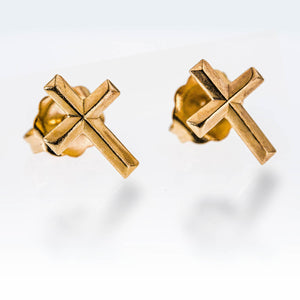 Dainty 14 k Gold Filled Faith Earring Crosses Ear Studs