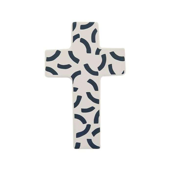 Ceramic Handmade Wall Cross White and Navy