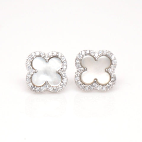 CELINE CLOVER CROSS EARRINGS EARSTUDS STERLING SILVER
