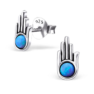 PAIGE HAMSA OPAL AND SEMI PRECIOUS EAR STUD EARRINGS STERLING SILVER - Byou Designs
