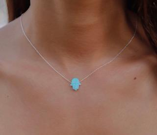 BLUE OPAL HAMSA HAND PENDANT ON A STERLING SILVER CHAIN NECKLACE