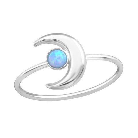 STERLING SILVER MOON OPAL RING