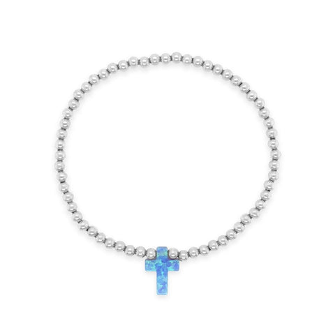 Cross My Heart Sterling Silver 3mm Beads with Opal Cross