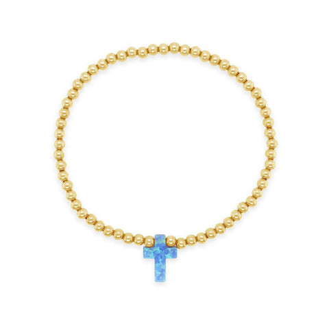 Cross My Heart Opal Stretch 3mm Beaded Bracelet Gold Filled