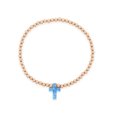 Cross My Heart Opal Stretch 3mm Beaded Bracelet Rose Gold