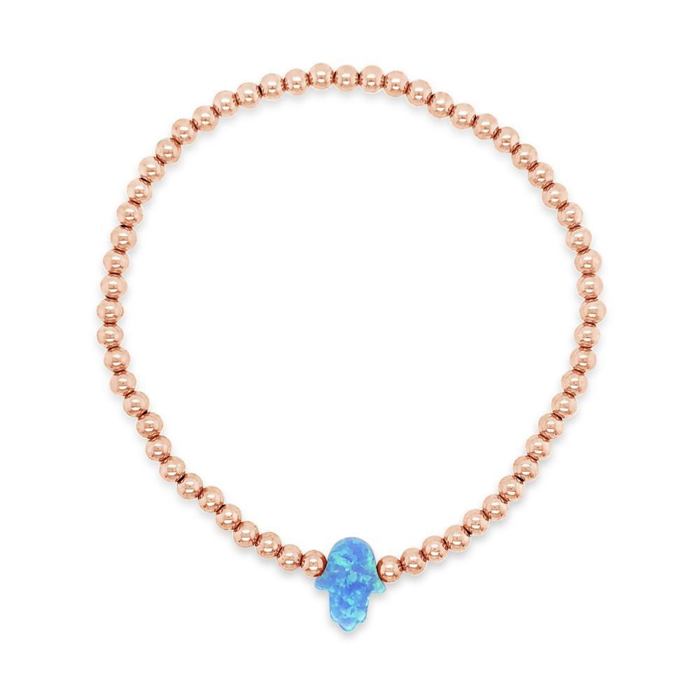 Opal Stone Hamsa Hand Beaded Stretch Bracelet Rose Gold Filled