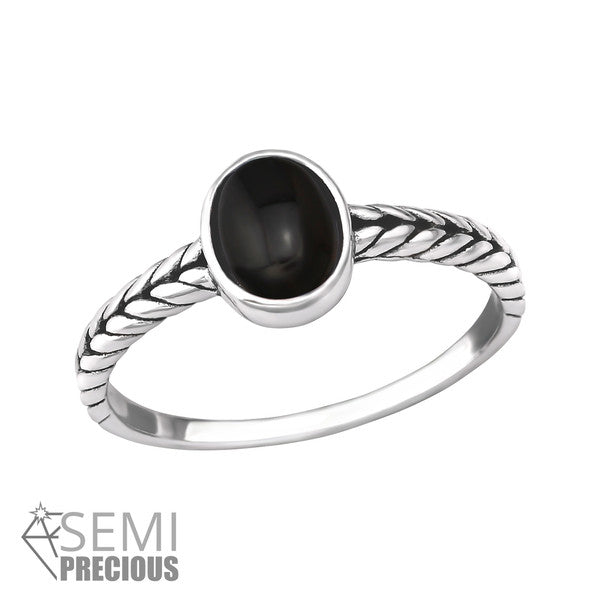 STERLING SILVER BLACK ONYX STONE RING