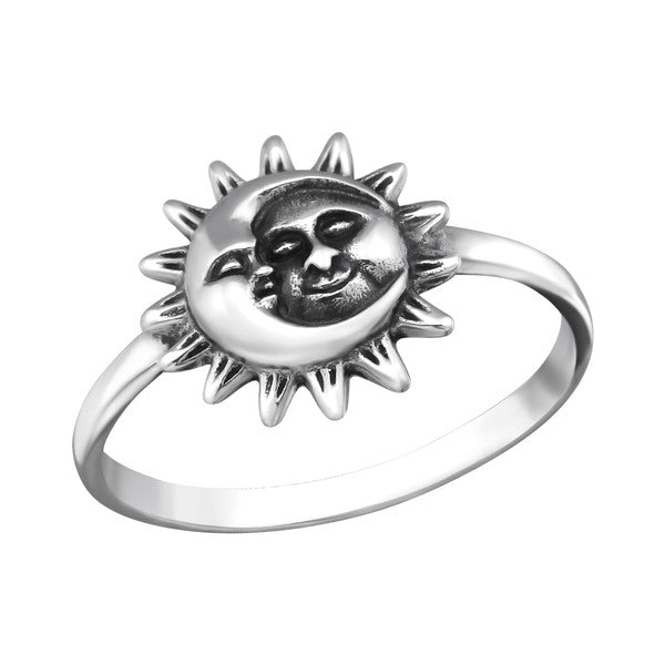 SILVER SUN AND MOON RING