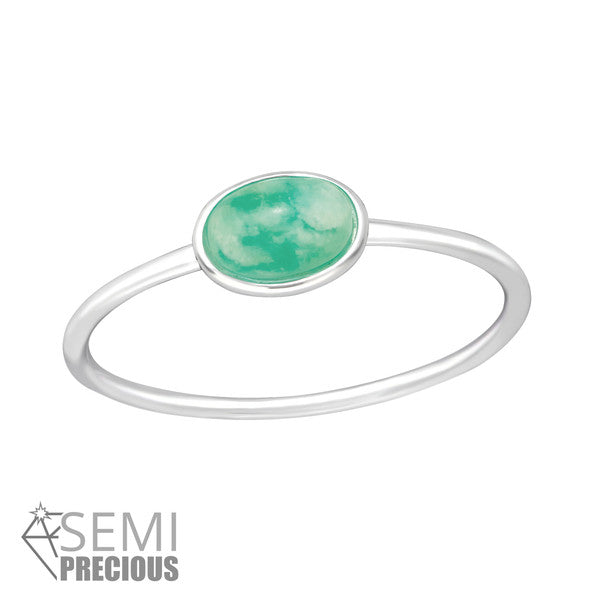 STERLING SILVER SEMI PRECIOUS STONE AMAZONITE OVAL RING