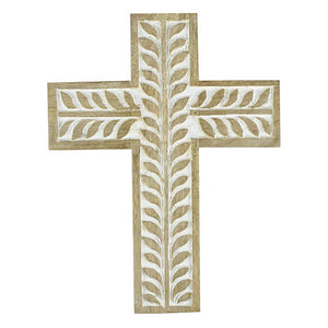 Wooden Handmade Home Decor Wall Cross White Wash