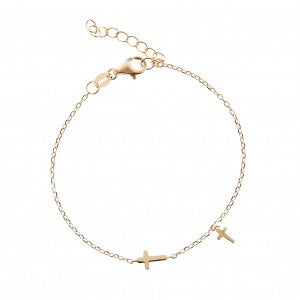 Dainty Cross Chain Bracelet Adjustable Gold Plated over Sterling Silver