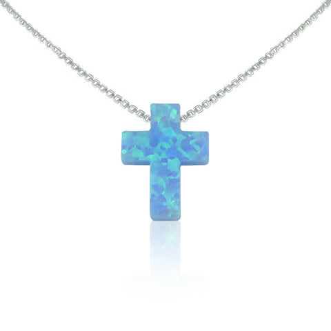 BLUE OPAL CROSS NECKLACE STERLING SILVER CHAIN - Byou Designs