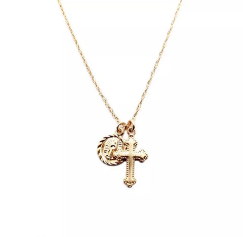 Mary and Cross Charm Pendant 14k Gold Filled Necklace