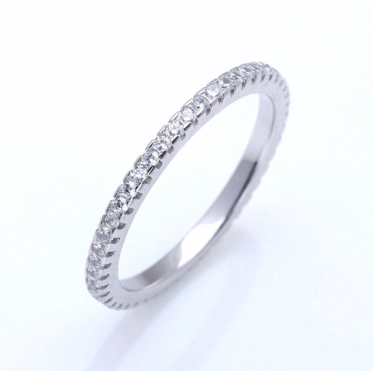 CIRCLE OF LOVE RINGS IN STERLING SILVER AND CUBIC ZIRCONIA - Byou Designs